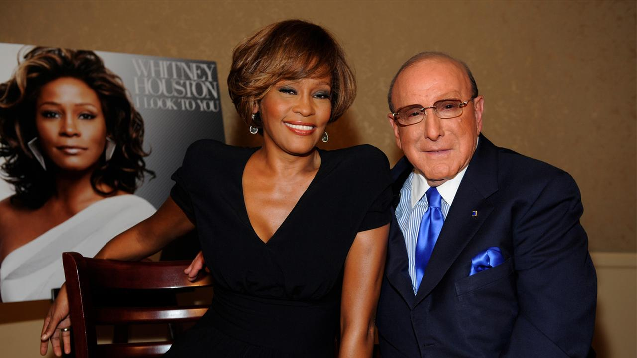 Whitney Houston and CEO of Sony Music Worldwide, Clive Davis during the Whitney Houston I Look To You CD Listening Party held at the Beverly Hilton Hotel on July 23, 2009.
