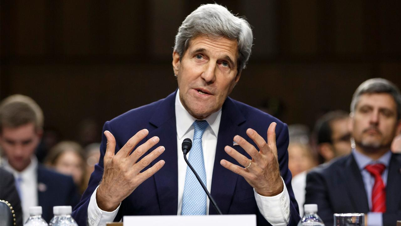 Secretary of State John Kerry appears before a Senate committee to shore up a strategy to combat Islamic State extremists in Iraq and Syria on Wednesday, Sept. 17, 2014.