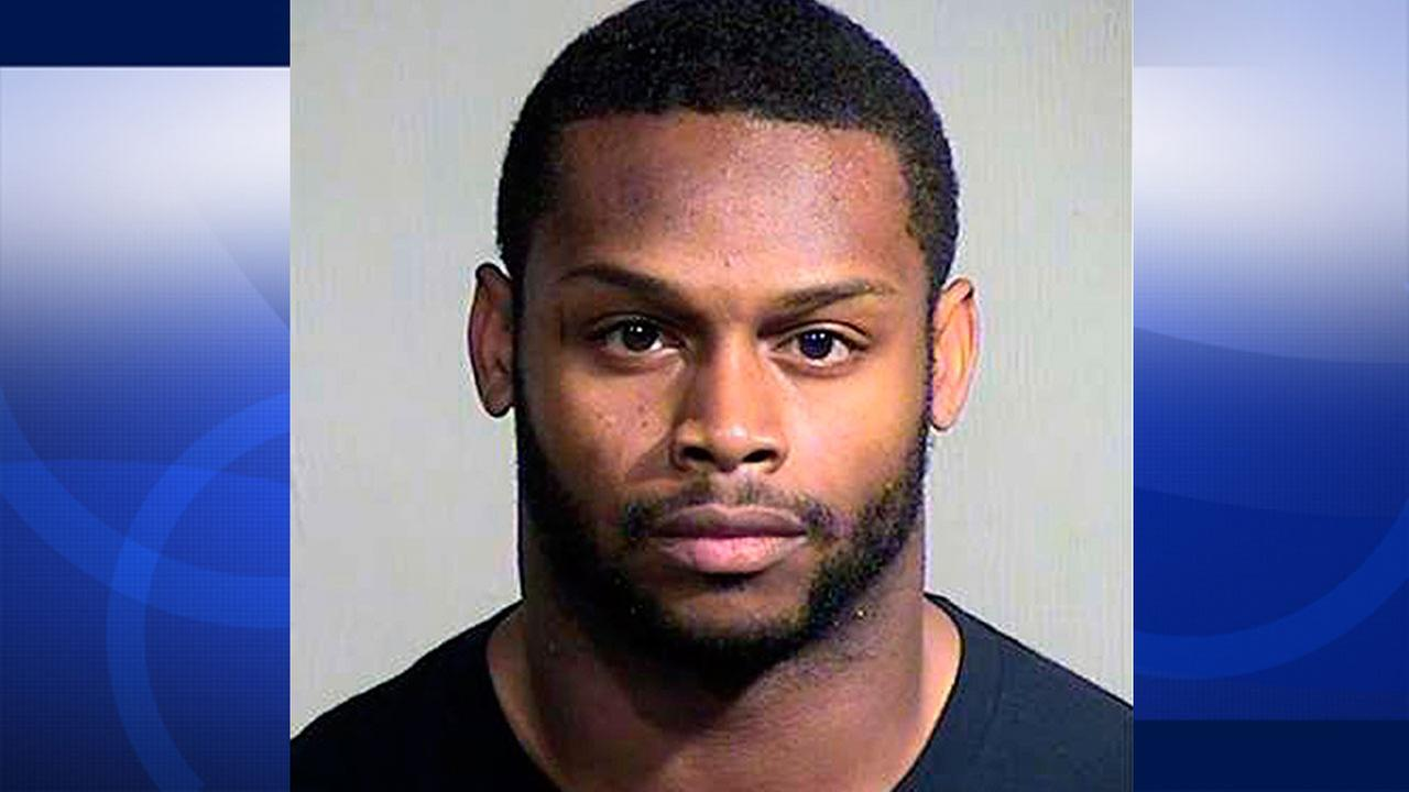 This Sept. 17, 2014 booking photo provided by the Maricopa County, Ariz., Sheriffs Office shows Arizona Cardinals running back Jonathan Dwyer.