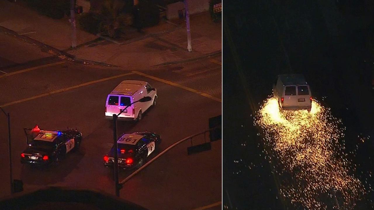 A white van led police in a wild chase through the streets of South LA Wednesday night, losing its tires and sending sparks in the air, before it was disabled and brought to a halt