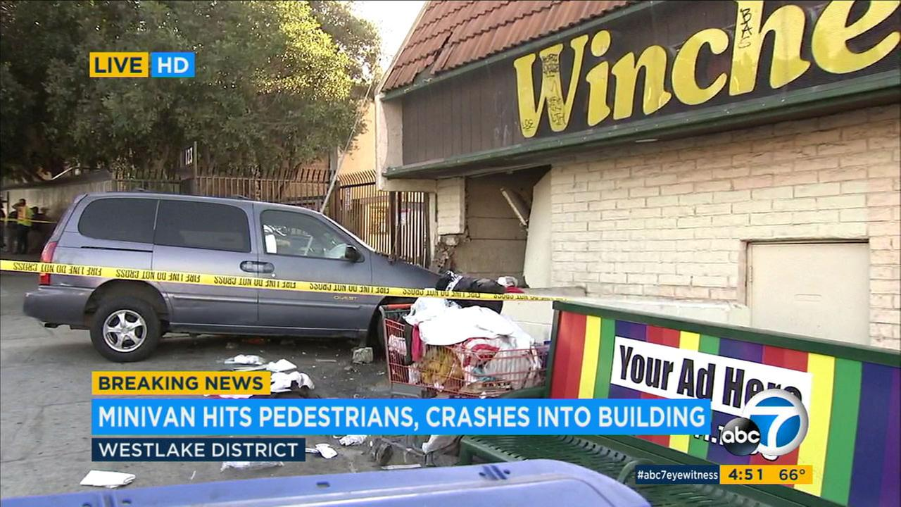 Two pedestrians were critically injured when they were struck by a minivan in the Westlake district Sunday afternoon, officials said.