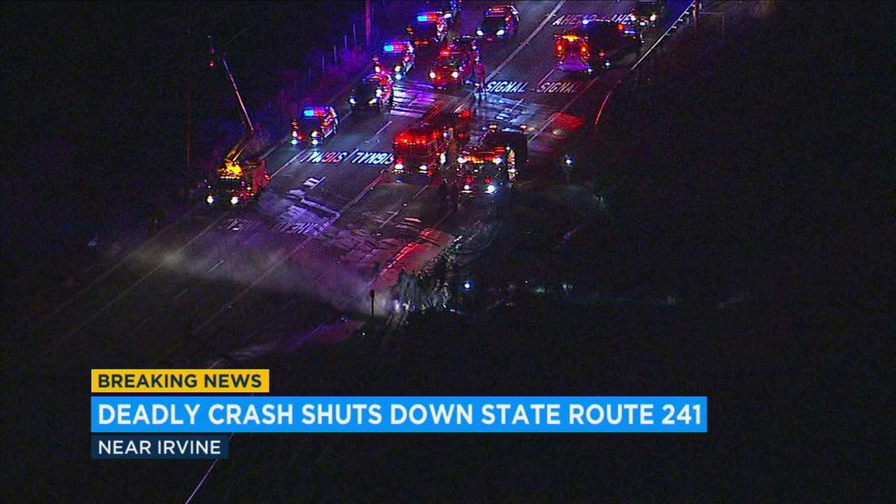 A fatal car crash Sunday night sent live power lines onto lanes of State Route 241 in Orange County, shutting it down.