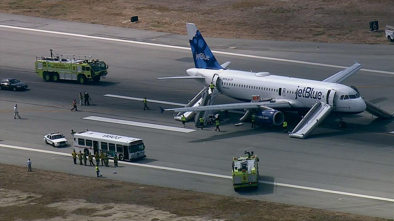 A JetBlue flight safely made an emergency landing at Long Beach Airport Thursday, Sept. 18, 2014.