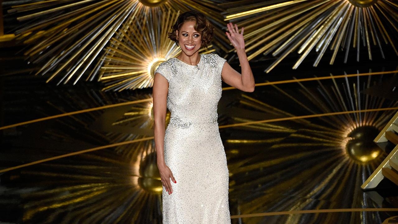Stacey Dash speaks at the Oscars on Sunday, Feb. 28, 2016, at the Dolby Theatre in Los Angeles.