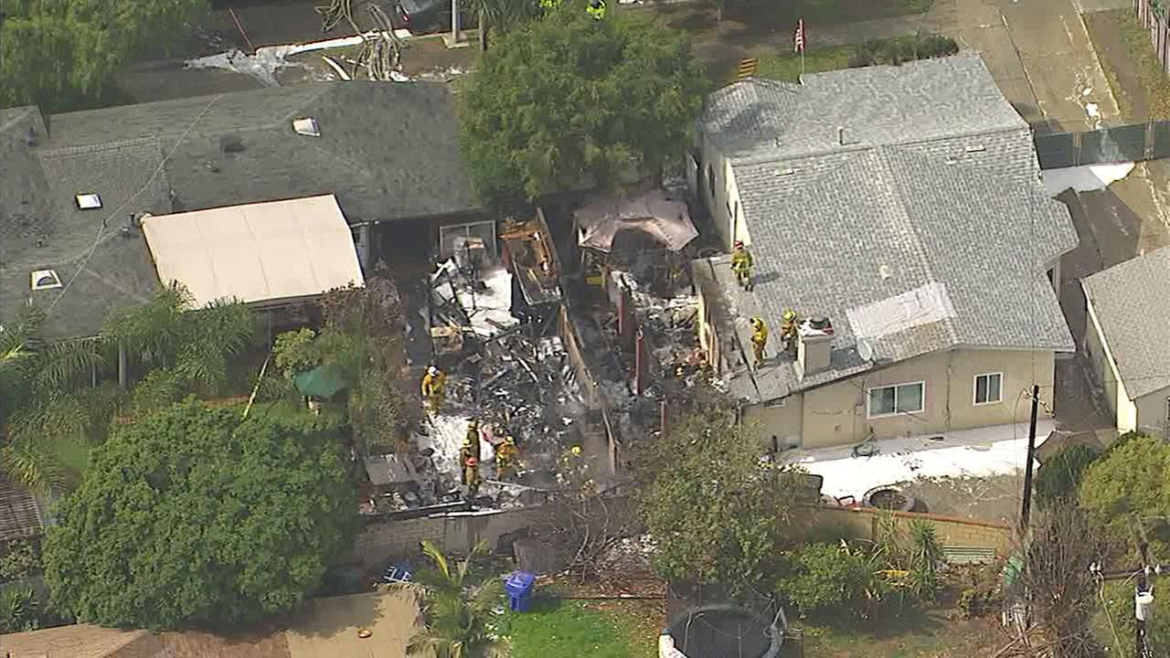 A home in Whittier caught fire because of a nearby lightning strike, firefighters said.