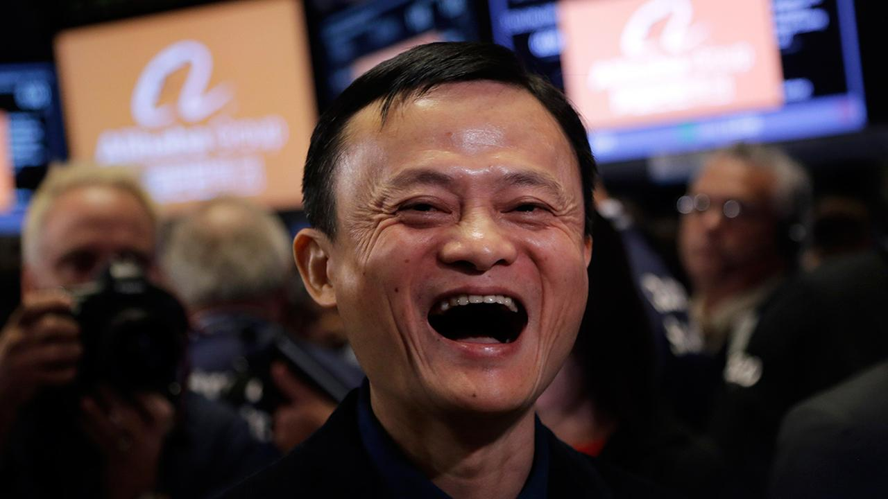 Jack Ma, founder of Alibaba, smiles during the companys IPO at the New York Stock Exchange, Friday, Sept. 19, 2014 in New York.