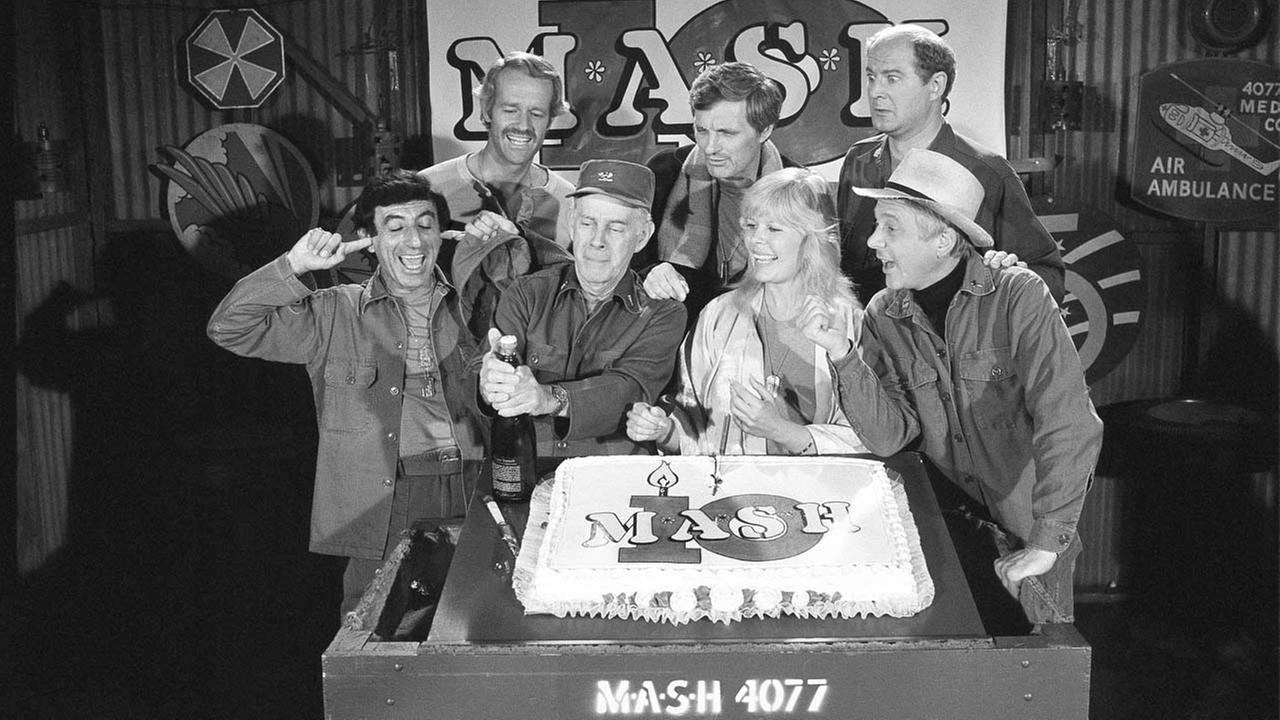 This 1981 photo shows Jamie Farr, from front left, Harry Morgan, Loretta Swit, William Christopher and, from back from left, Mike Farrell, Alan Alda and David Ogden Stiers.