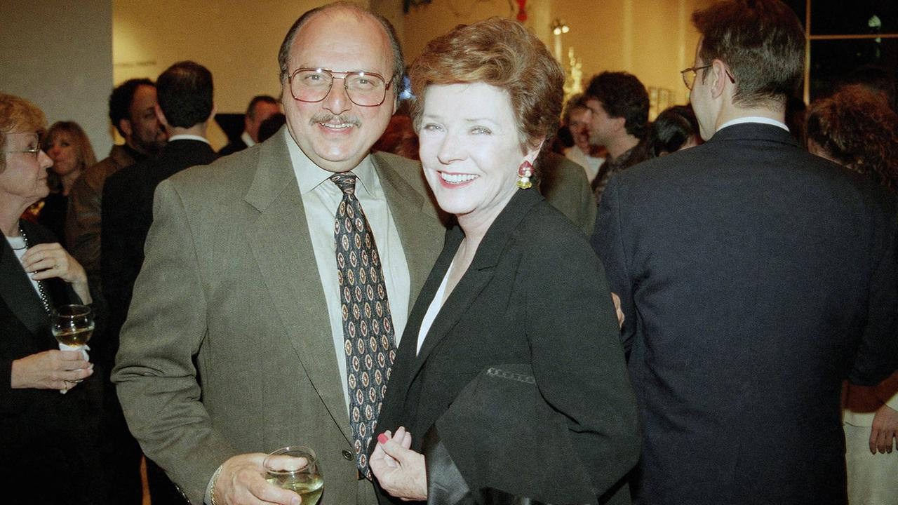 NYPD Blues Dennis Franz poses with Polly Bergen at the William S. Paley Television Festival opening reception, Monday, March 3, 1997 in Beverly Hills, California.