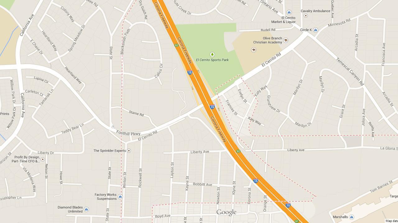 A map shows the I-15 at El Cerrito Road near Corona.