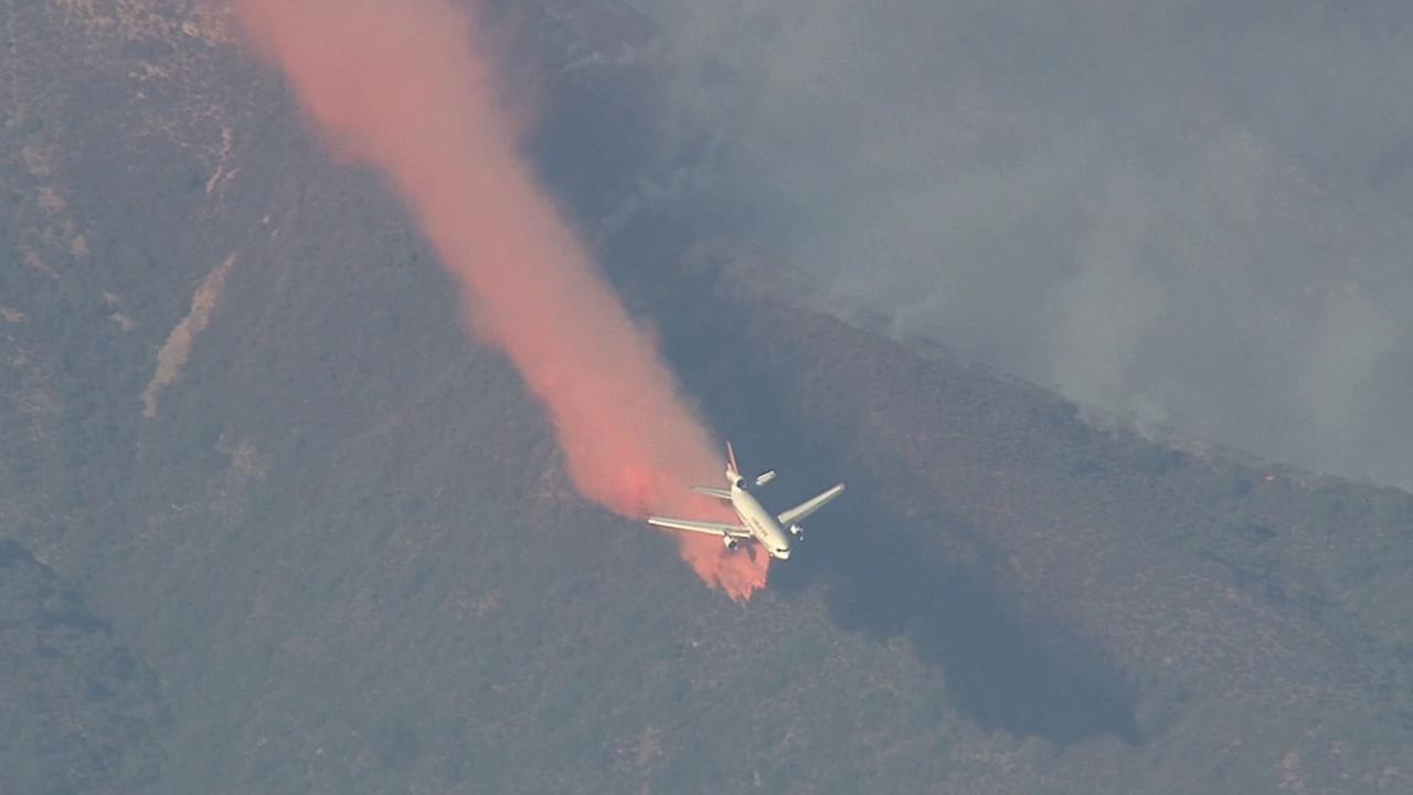 Crews perform an air attack on the Silverado Fire in this September 2014 photo.