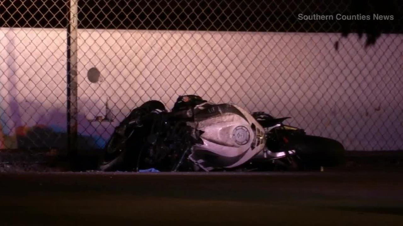 A motorcyclist was ejected after rear-ending a vehicle on the southbound 55 Freeway in Santa Ana and then struck by a DUI driver on Sunday, Sept. 21, 2014.