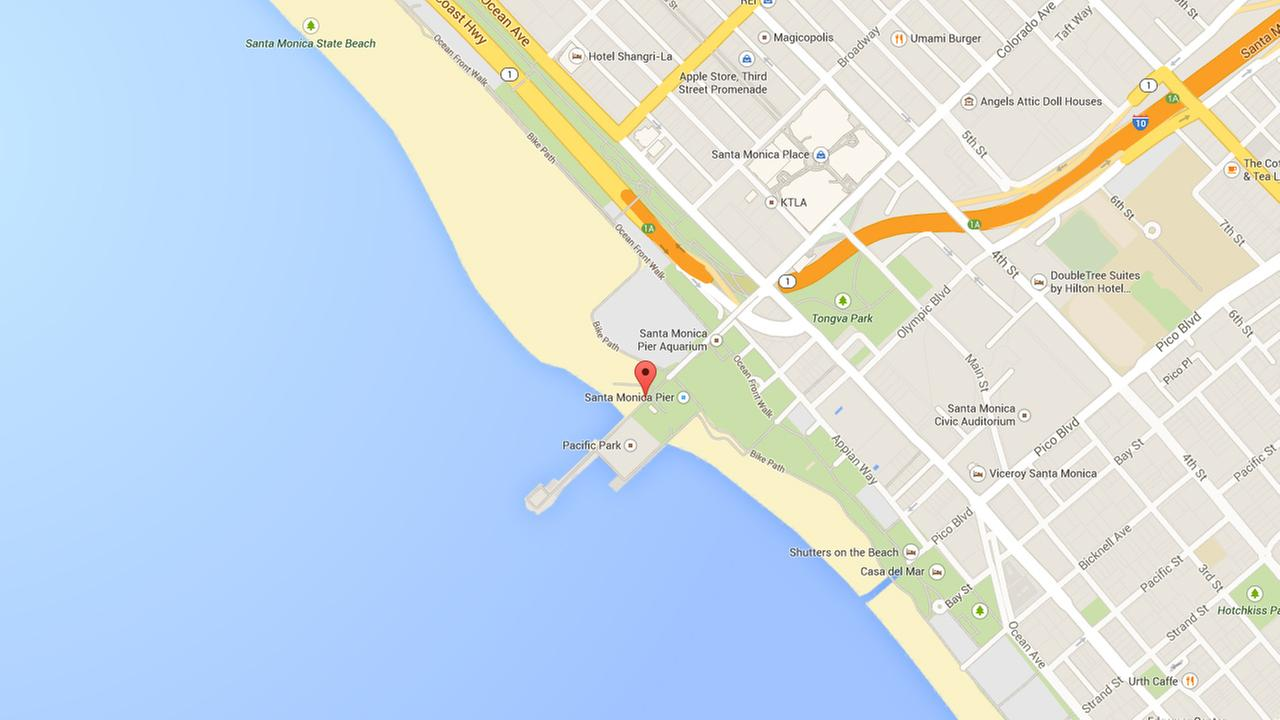 This Google Maps image shows the area where a man was hit while at Santa Monica beach on Sunday, Sept. 21, 2014.
