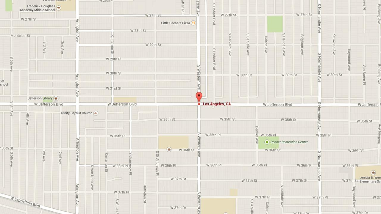 A map shows the intersection of Jefferson Boulevard and Western Avenue in West Adams.