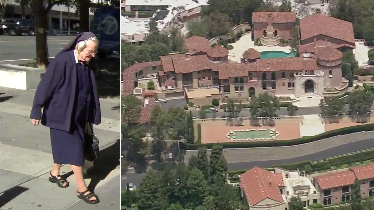 Sister Catherine Rose Holzman 89 is shown during an older court proceeding alongside the property she is in a battle with the L.A. archdiocese and Katy Perry over