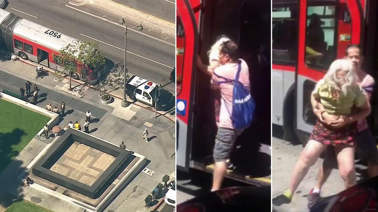 A Metro bus driver was attacked by a woman near Wilshire Boulevard and Serrano Avenue in the Koreatown area of Los Angeles Monday, Sept. 22, 2014.