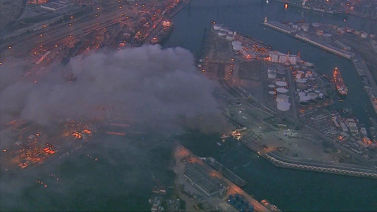 Smoke is seen from a fire at the Port of Los Angeles on Tuesday, Sept. 23, 2014.
