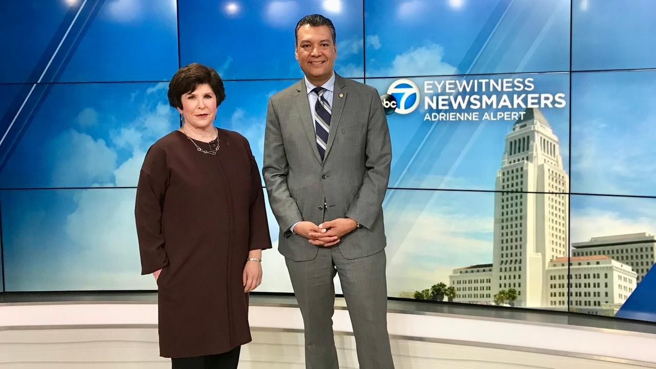 California Secretary of State Alex Padilla stands alongside Eyewitness Newsmakers host Adrienne Alpert.