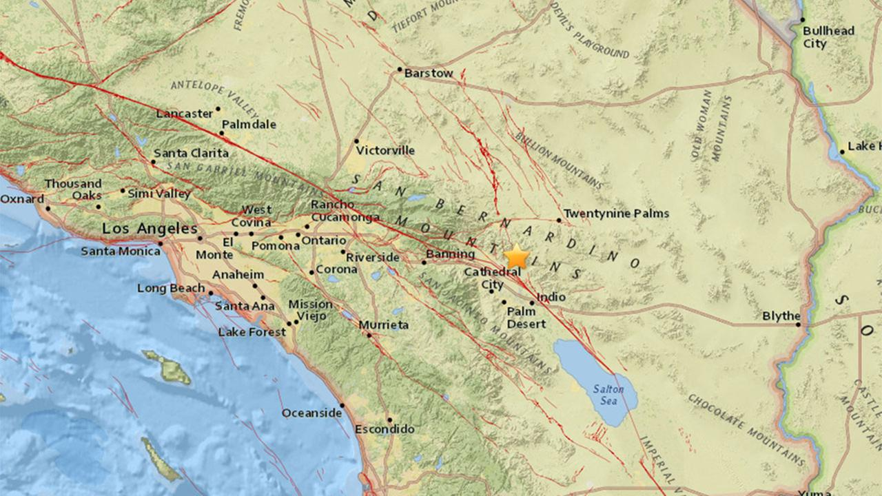 A preliminary 3.2 magnitude earthquake struck the desert in Riverside County to the east of Palm Springs, according to the USGS.