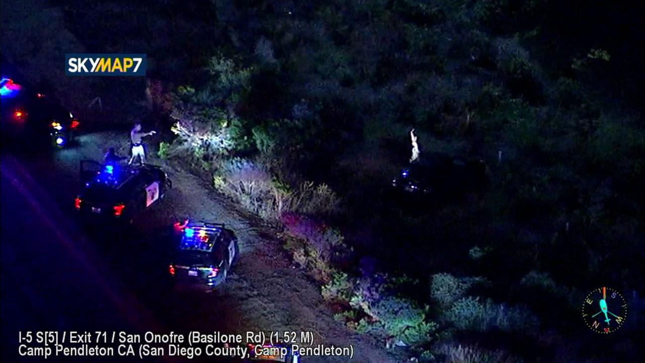 A domestic violence suspect surrendered to police after a chase that started in Los Angeles County and ended in San Diego on Thursday, March 15, 2018.