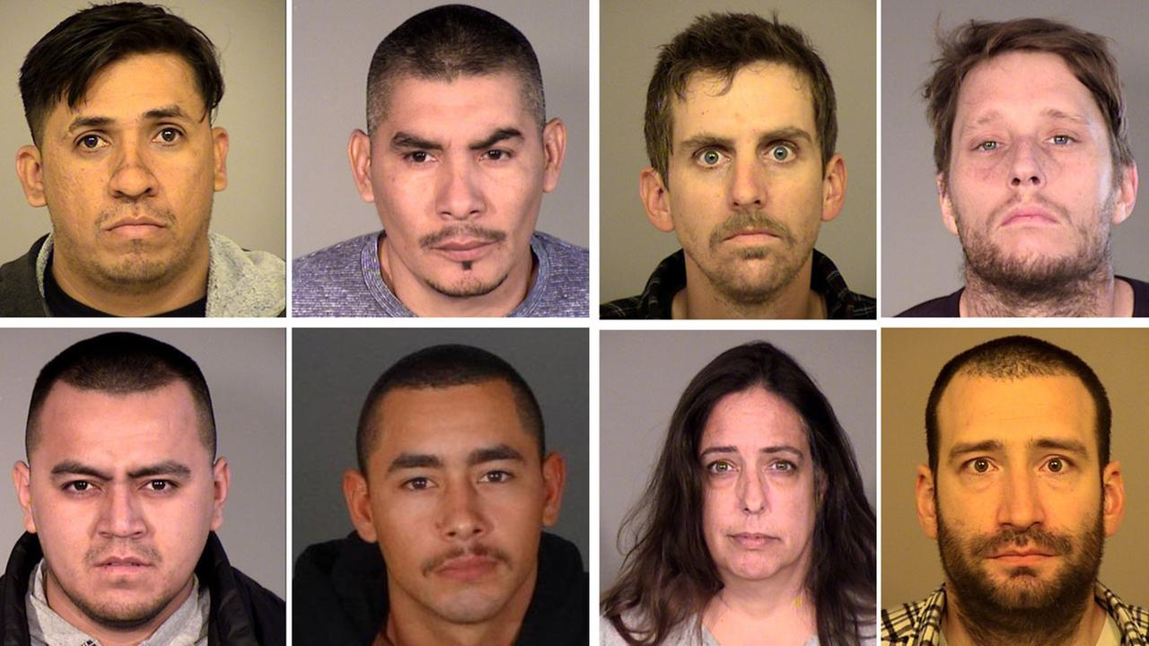 The suspects are shown in mugshots: Ruben Correa, Jose Zepeda, Patrick Kahler, Christopher Pederson, Miguel Garcia, Eduardo Garcia, Valerie Whistler and Alexander Wisotsky.