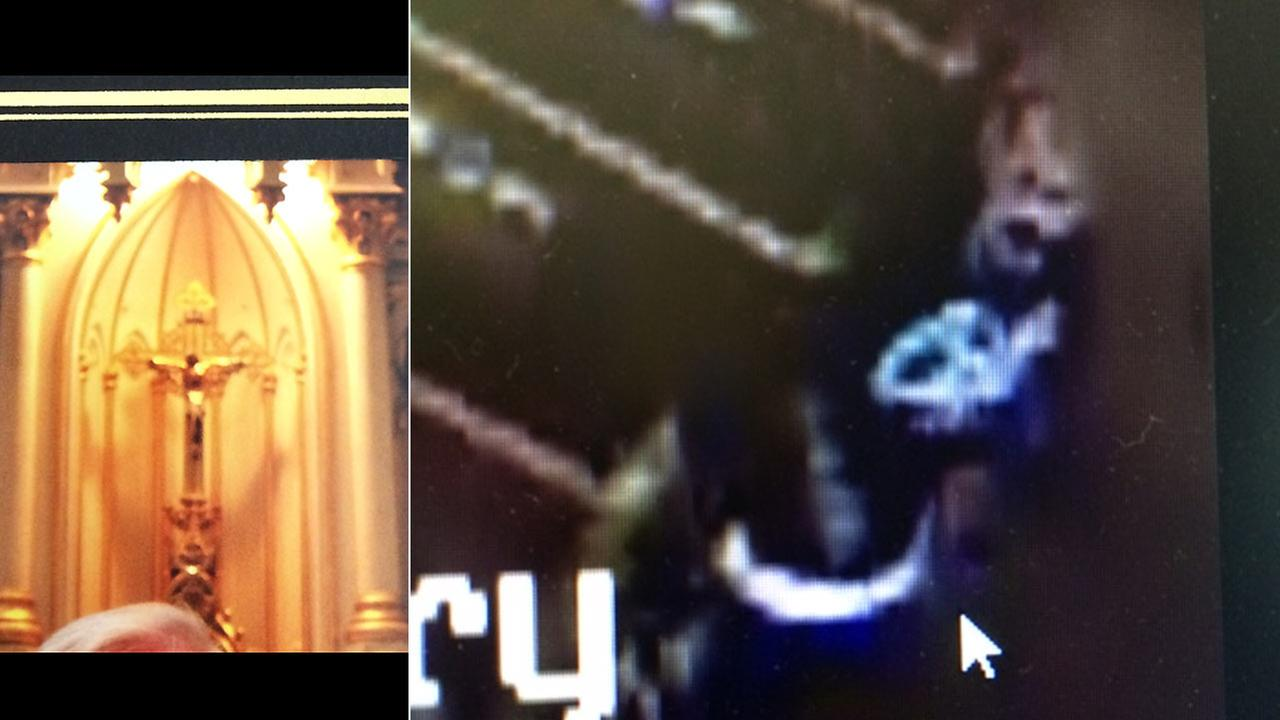 A crucifix was stolen from a church in Oxnard on Wednesday afternoon, Sept. 24, 2014, and police released a surveillance picture of the suspect.