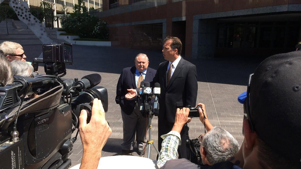 Former Bell city manager Robert Rizzo appears at a press conference following his sentencing hearing in downtown Los Angeles for tax evasion on Monday, April 14, 2014.