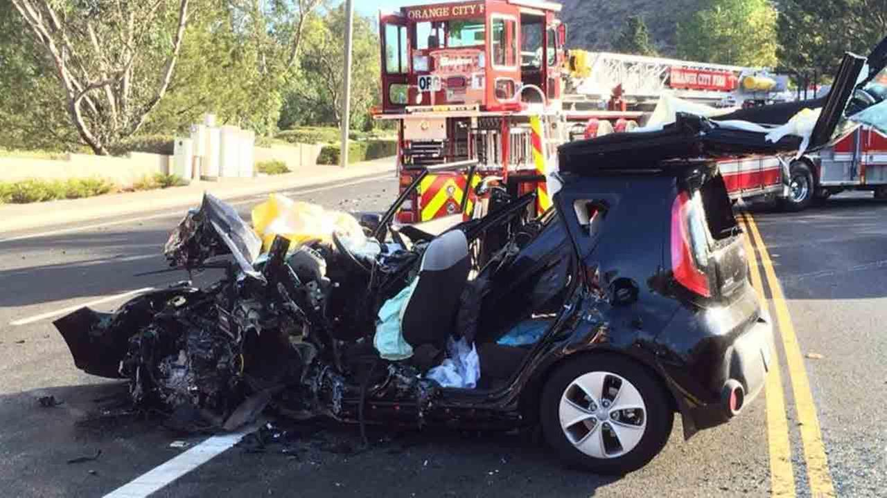 Wreckage is seen following a two-vehicle collision near Chapman Avenue and Canyon View Avenue in Orange Saturday, Sept. 27, 2014.