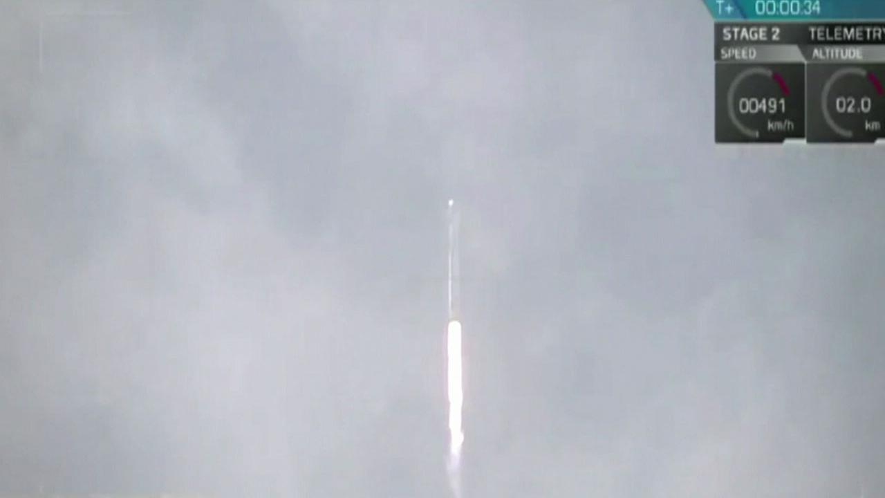 A SpaceX Falcon 9 rocket is shown blasting into space on Aug. 24, 2017.