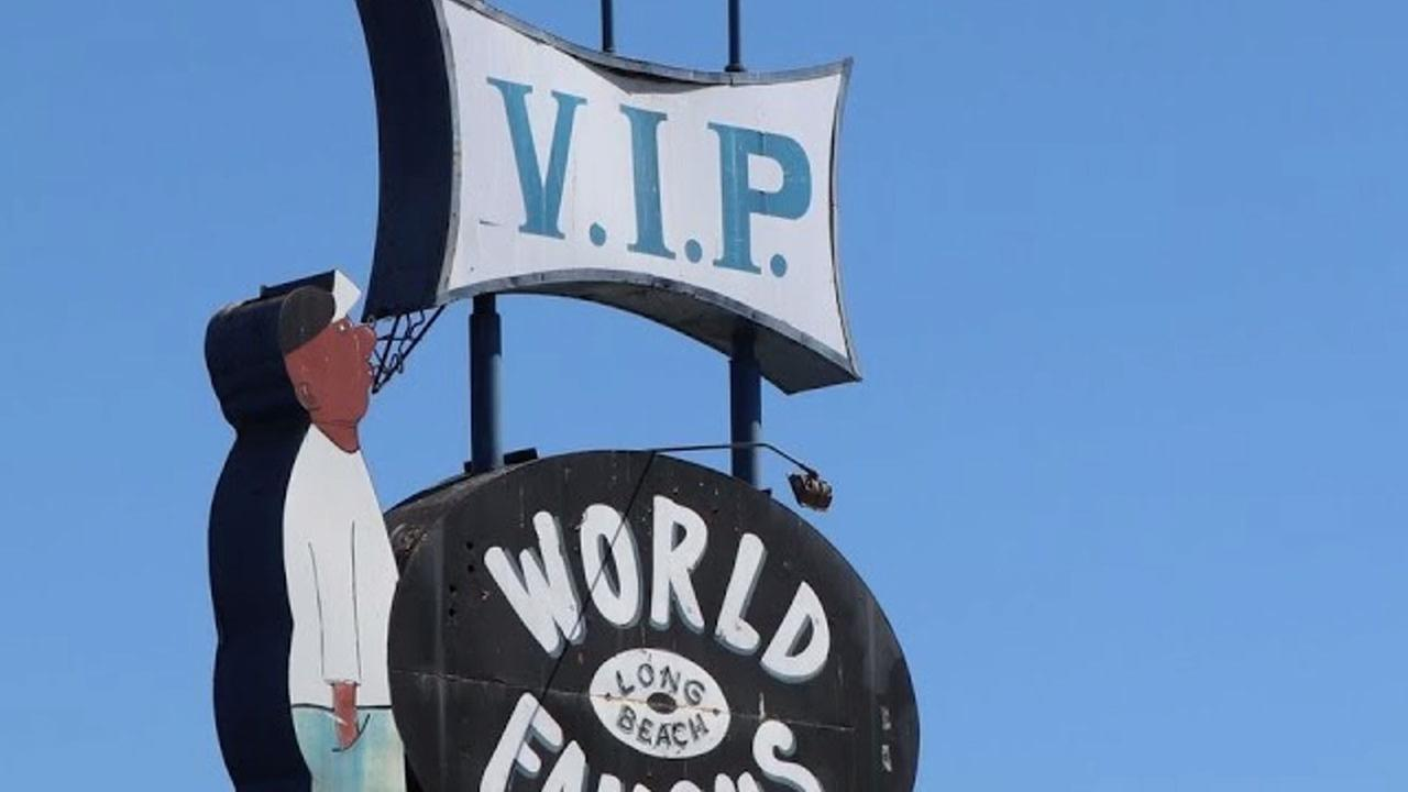 The iconic V.I.P. Records sign stood for decades in Long Beach.