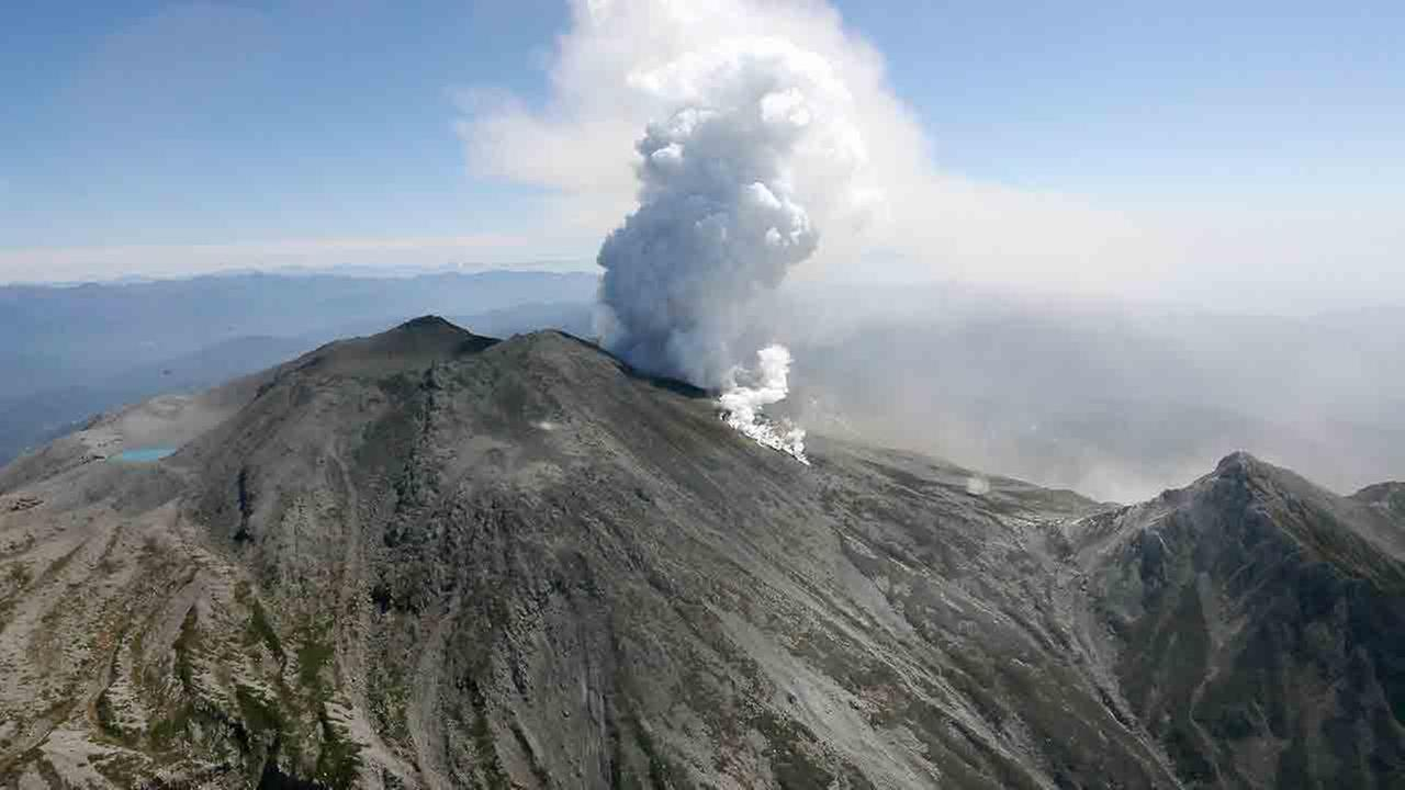 Plumes of smoke and ash billow from Mount Ontake in central Japan, Sunday, Sept. 28, 2014 Sunday, Sept. 28, 2014.