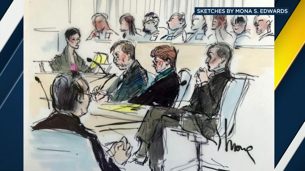 A courtroom sketch shows Lois Goodman with her attorneys during their final hearing for her lawsuit against the L.A. County coroner.