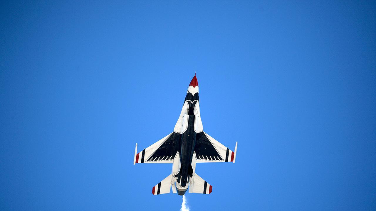 The U.S. Air Force Thunderbirds perform a flyover before the NASCAR Daytona 500 auto race at Daytona International Speedway, Sunday, Feb. 26, 2017, in Daytona Beach, Fla.