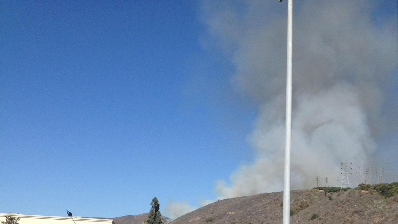 An image captured by an ABC7 viewer shows smoke from a brush fire  in Ventura. Sept. 29, 2014.