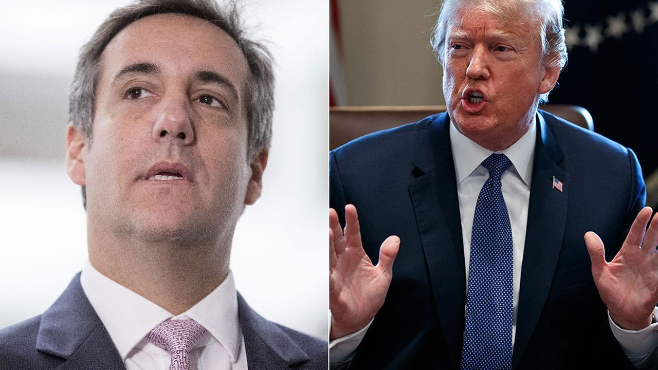 President Donald Trump speaks at the White House on April 9, 2018; at left, Trumps personal attorney Michael Cohen in a file image from Sept. 19, 2017.