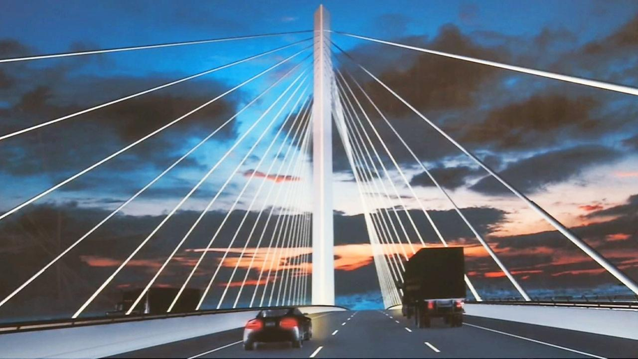 Artists rendering of the completed Gerald Desmond Bridge in Long Beach.