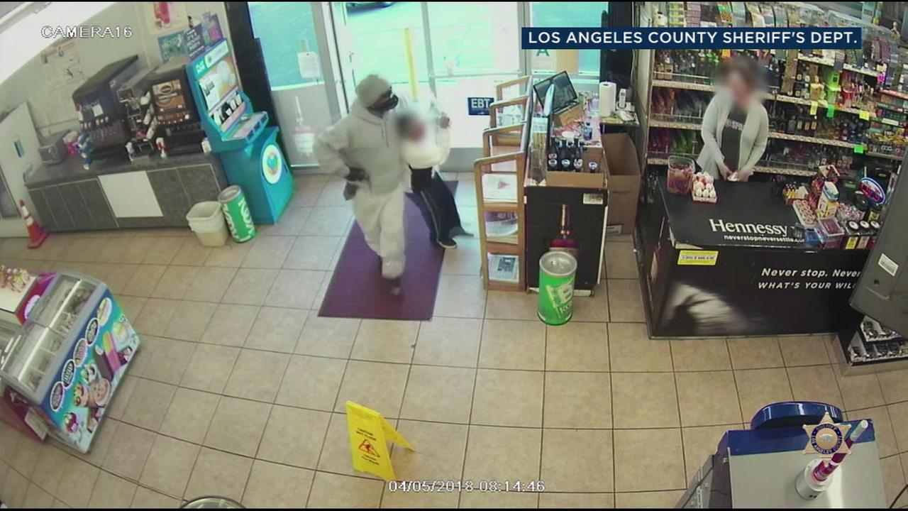 Palmdale deputies are asking for your help to catch a violent armed robbery suspect who robbed the same store twice, with the same clerk working both times.
