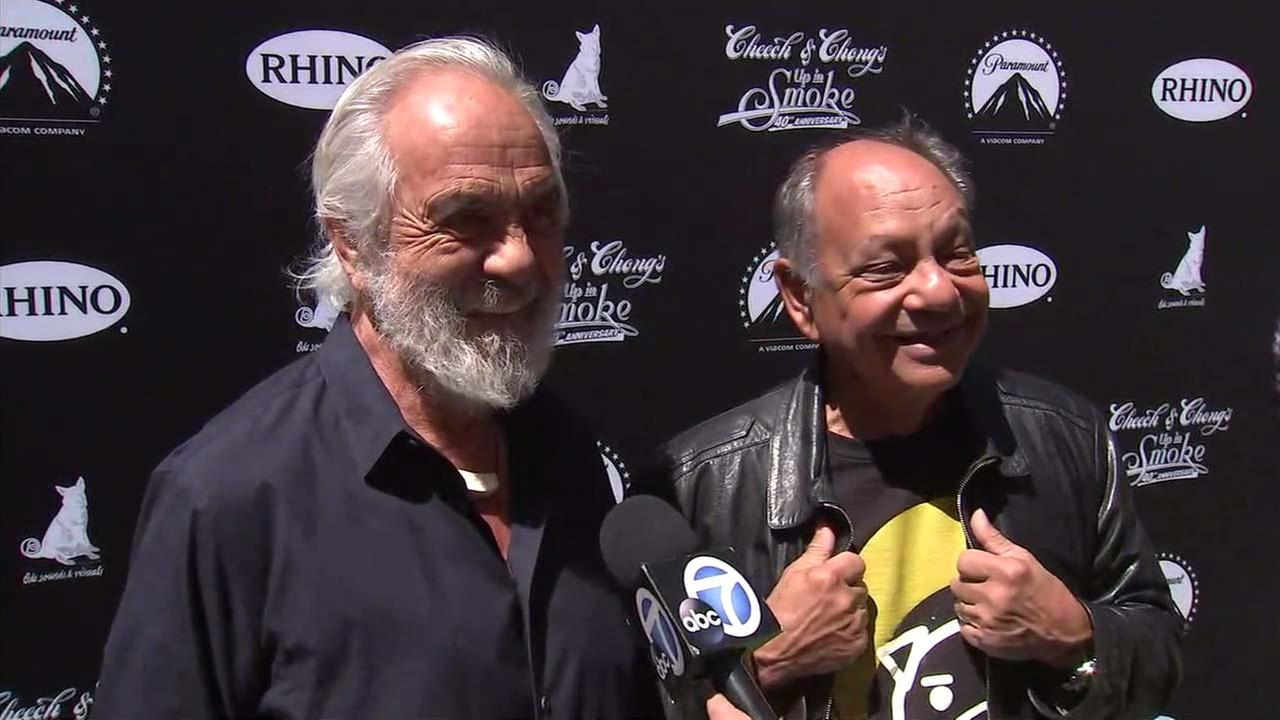 Cheech Marin and Tommy Chong speak to Eyewitness News on Monday, April 16, 2018.