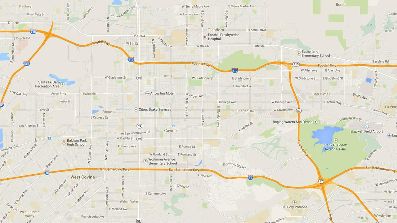 This Google Maps image shows the 57 Freeway and the 210 Freeway where two big rigs collided on Saturday, Oct. 4, 2014.
