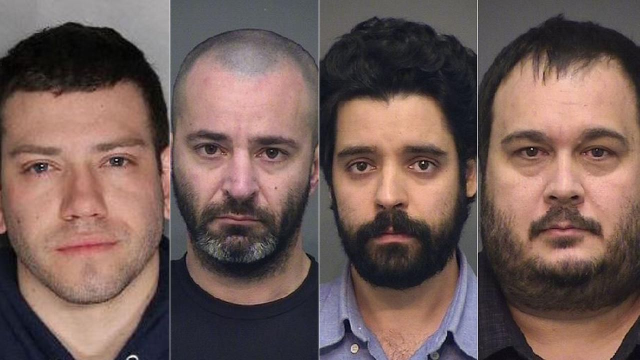 Undated photos of four suspects accused of engaging in sexual activity with a minor in Huntington Beach.