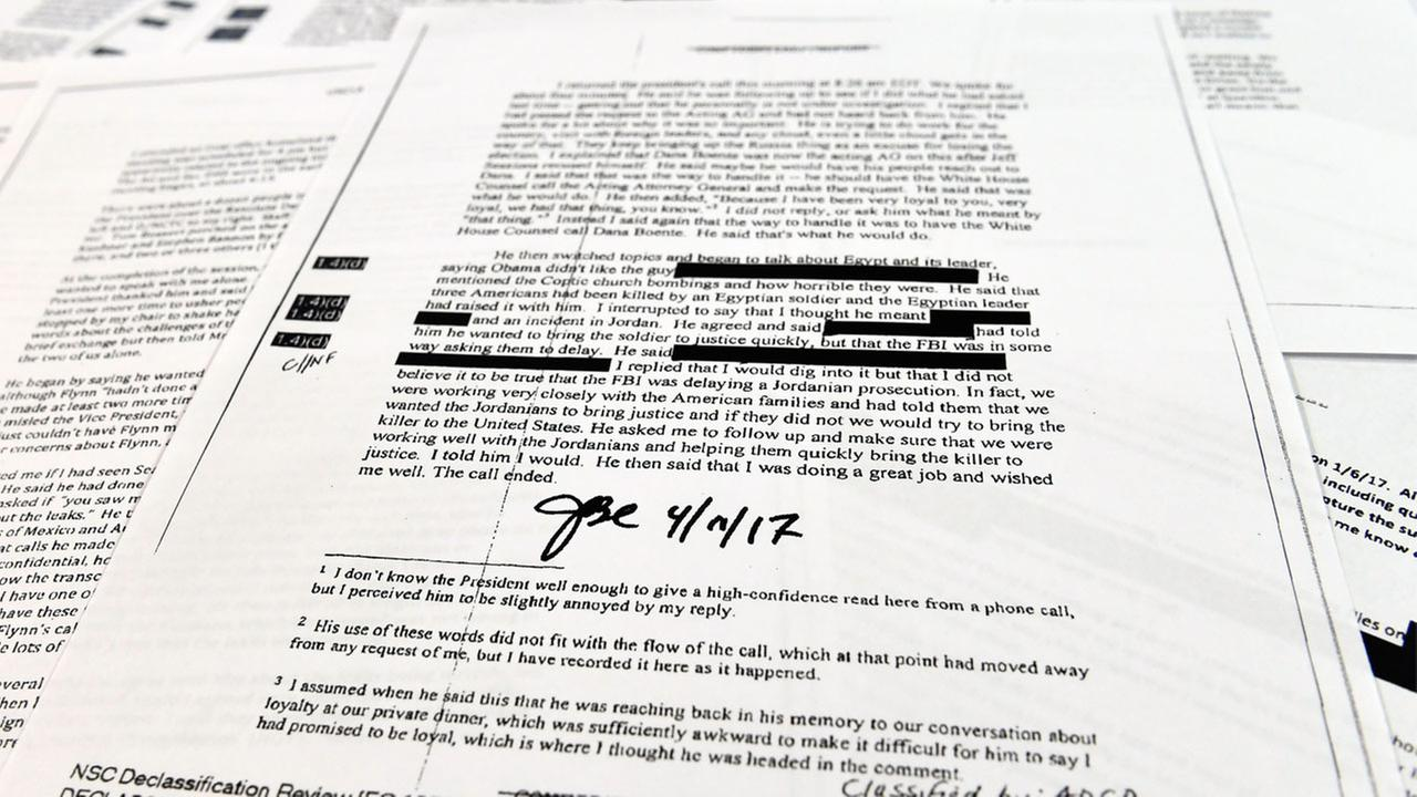 Copies of the memos written by former FBI Director James Comey are photographed in Washington, Thursday, April 19, 2018.