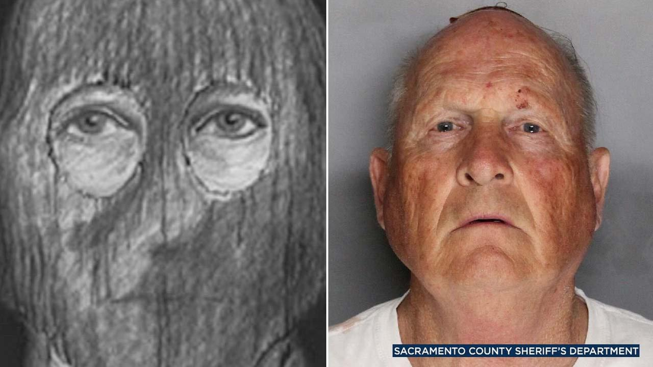 (Left) A 1980s sketch of the infamous Golden State Killer. (Right) Joseph James DeAngelo, 72, is seen in a booking photo provided by the Sacramento County Sheriffs Department.