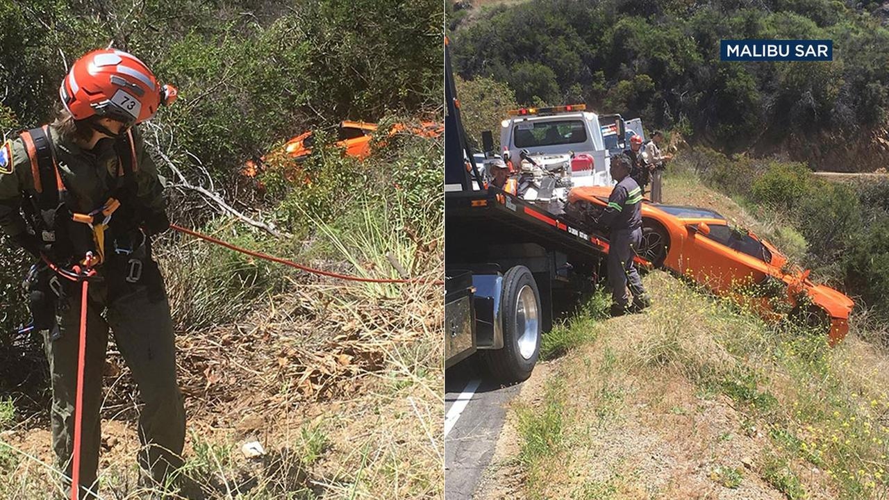 The Malibu Search and Rescue team recovered a McLaren found over the side of a canyon road.