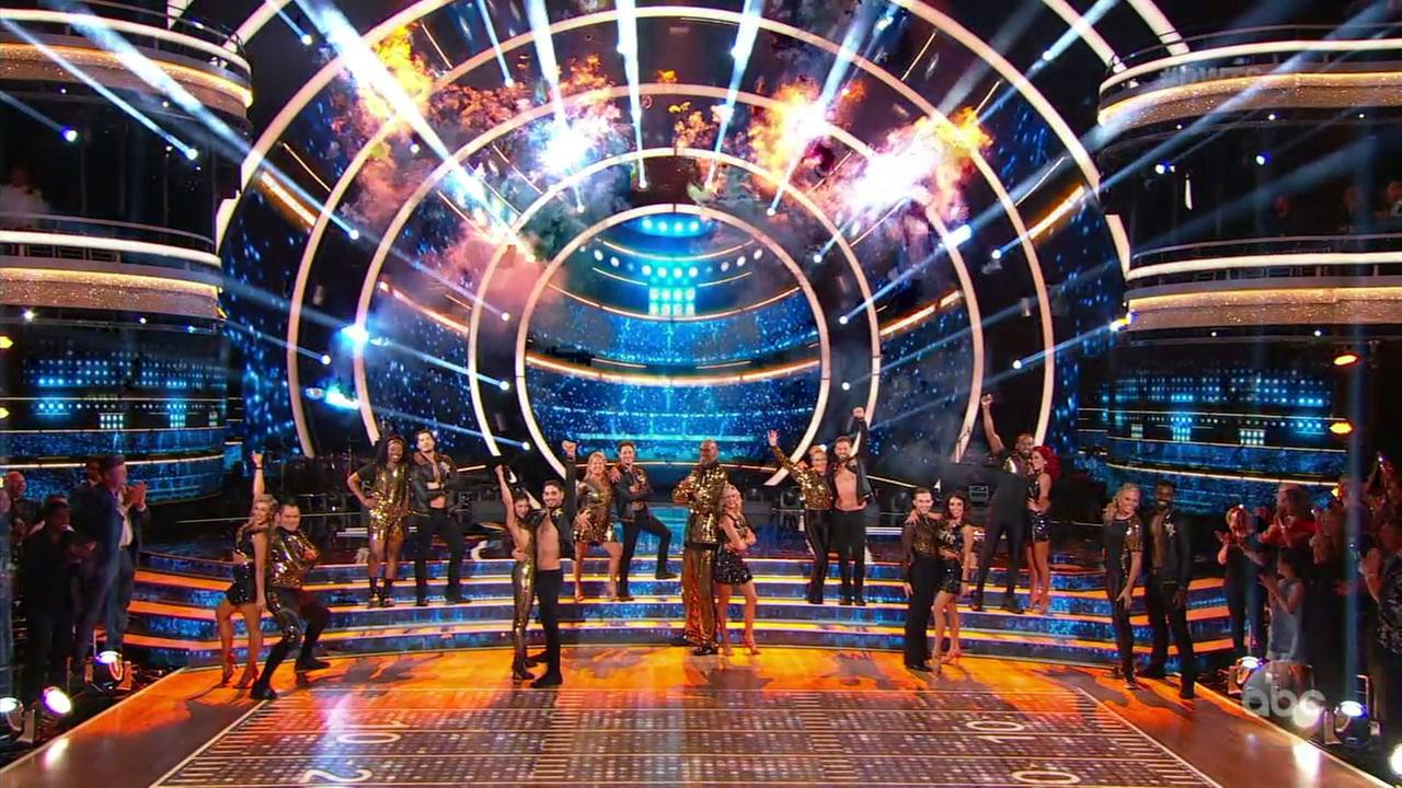 All the competitors for Dancing with the Stars: All Athletes are shown at the end of the opening number.