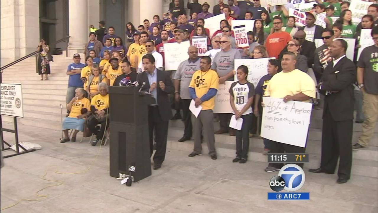 Vice President Joe Biden backed Los Angeles Mayor Eric Garcettis proposed minimum wage hike during his trip to the Southland Tuesday, Oct. 7, 2014.