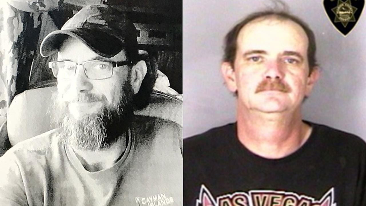 Domestic violence suspect Stephen Houk pictured, left, in an undated image provided by CHP and, right, in a mug shot from the Marion County Sheriffs Office in Oregon.