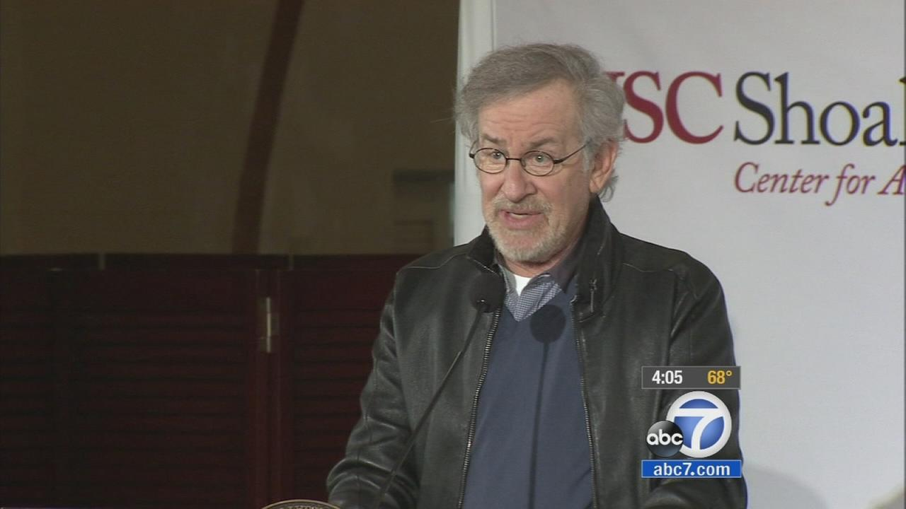 Movie director and producer Steven Spielberg announced plans for a genocide research center at the University of Southern California on Friday, April 25, 2014.