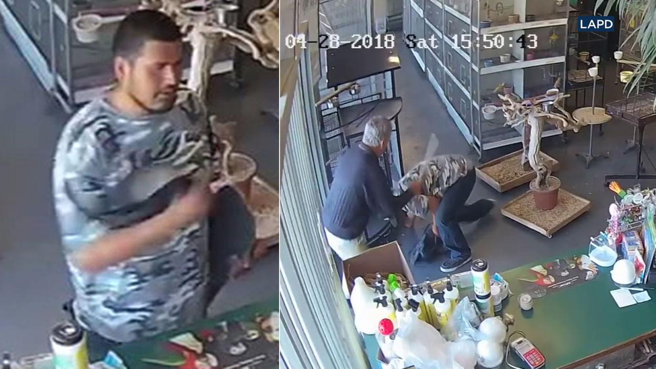 Police are looking for a man whose attempt to steal a bird was thwarted by the clerk at a Van Nuys pet store.