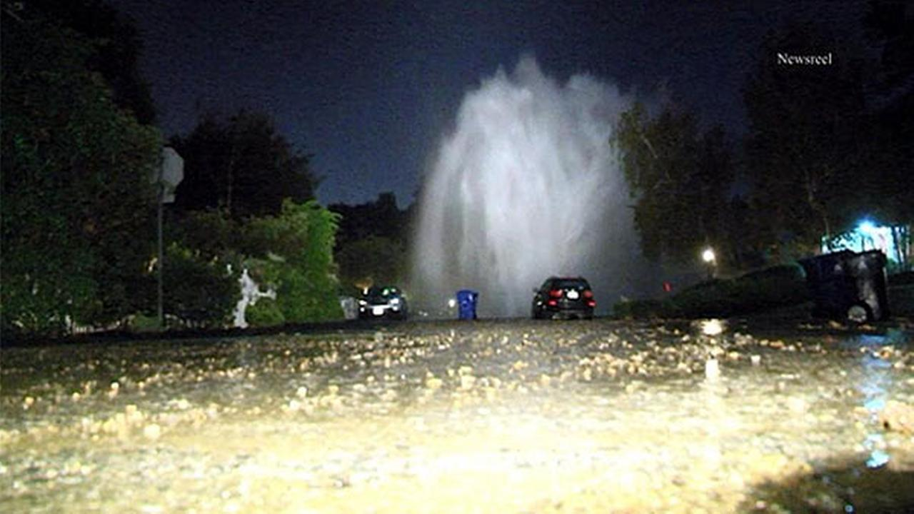 Residents in a Studio City neighborhood were shaken out of bed by an overnight water-main break on Friday, Oct. 10, 2014.