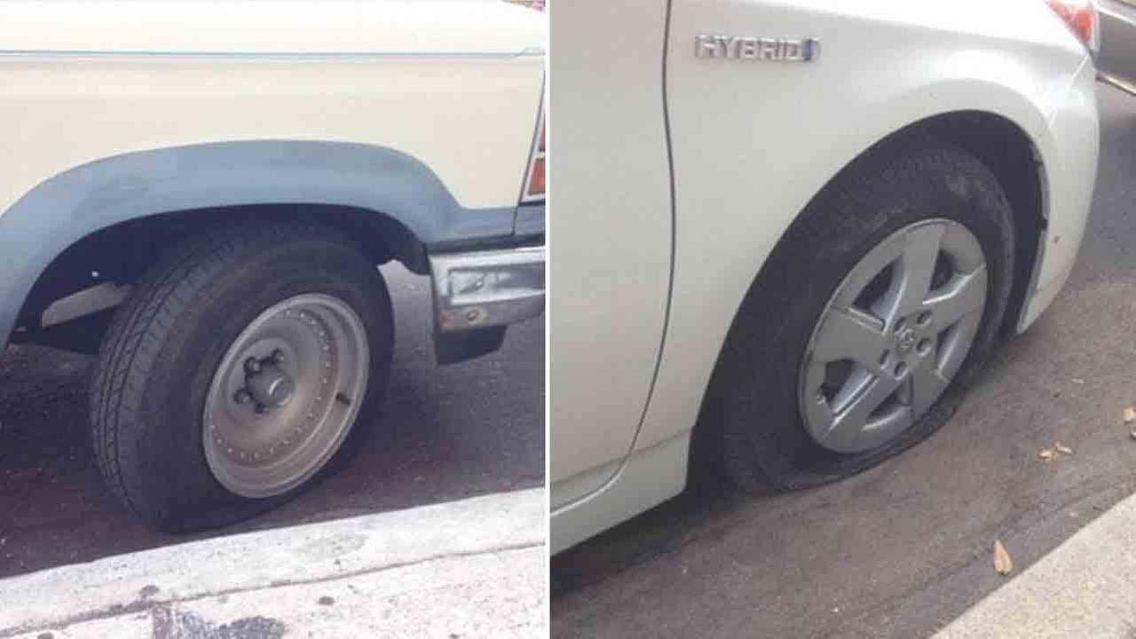 Police are searching for the vandals who slashed or punctured the tires of at least 12 vehicles in the Silver Lake area.