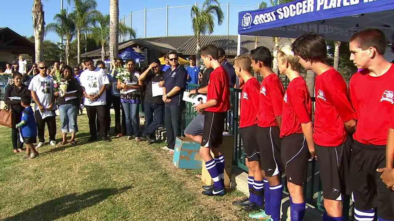 The American Youth Soccer Organization held a heartfelt tribute at San Juan Capistrano Sports Park Field Saturday, Oct. 11, 2014 for Matthew Melo and Alejandro Sotelo.